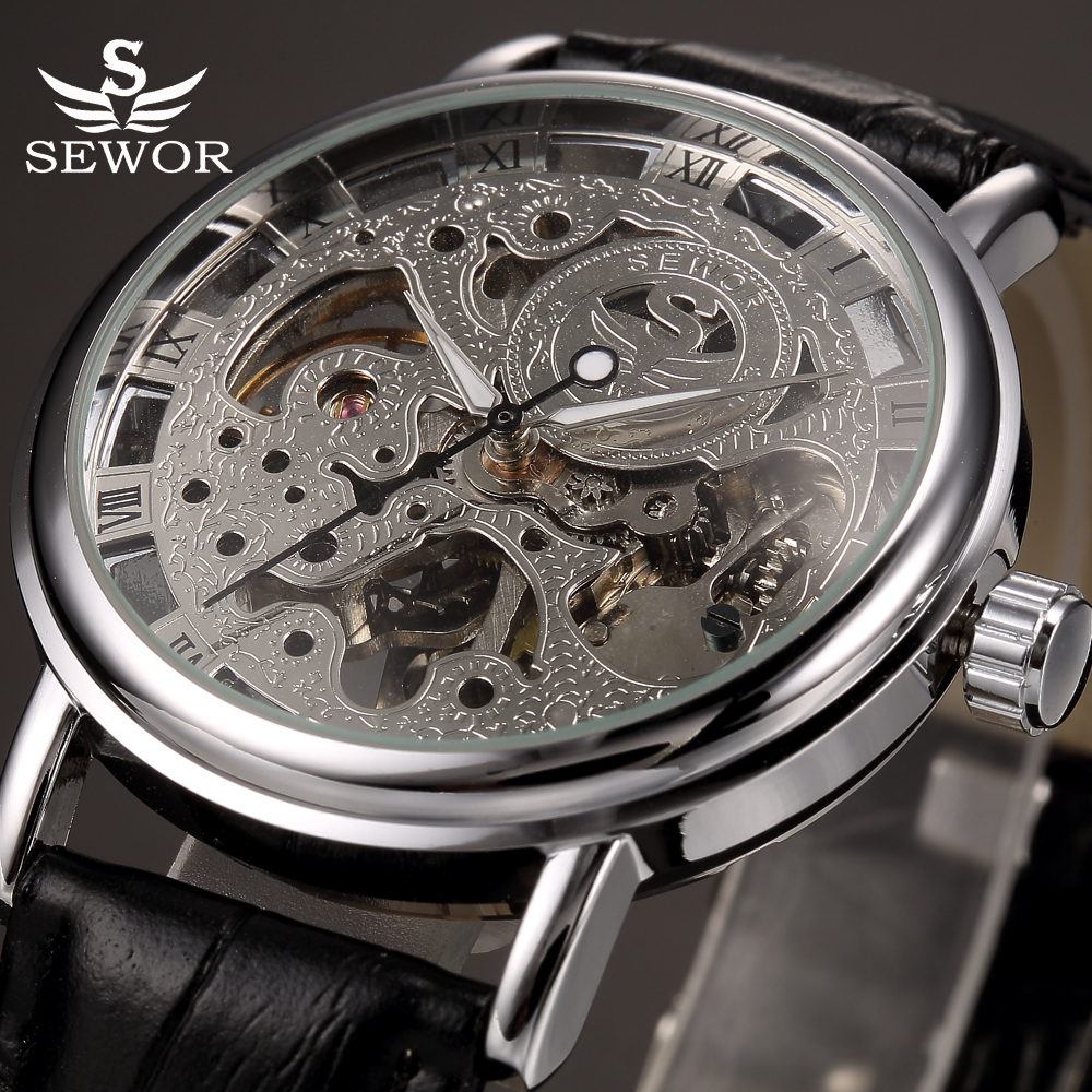 SEWOR Brand Skeleton Mechanical Wrist Watch for Men Transparent Clock Male Mens Black Leather Wristwatches Montre Homme adjustable wrist and forearm splint external fixed support wrist brace fixing orthosisfit for men and women