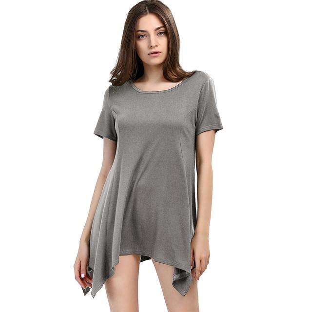 Nueva camiseta Del Verano de Las Mujeres de Color Sólido Camiseta Camicas Femininas Batwing Irregular O Cuello de manga Corta Camisas Casuales Tops
