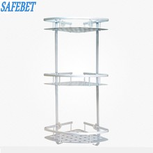 SAFEBET Brand Three Layers Suction cup style Bathroom Metal Rack Take a shower Supplies Storage Rack Bathroom Clothes Hanger