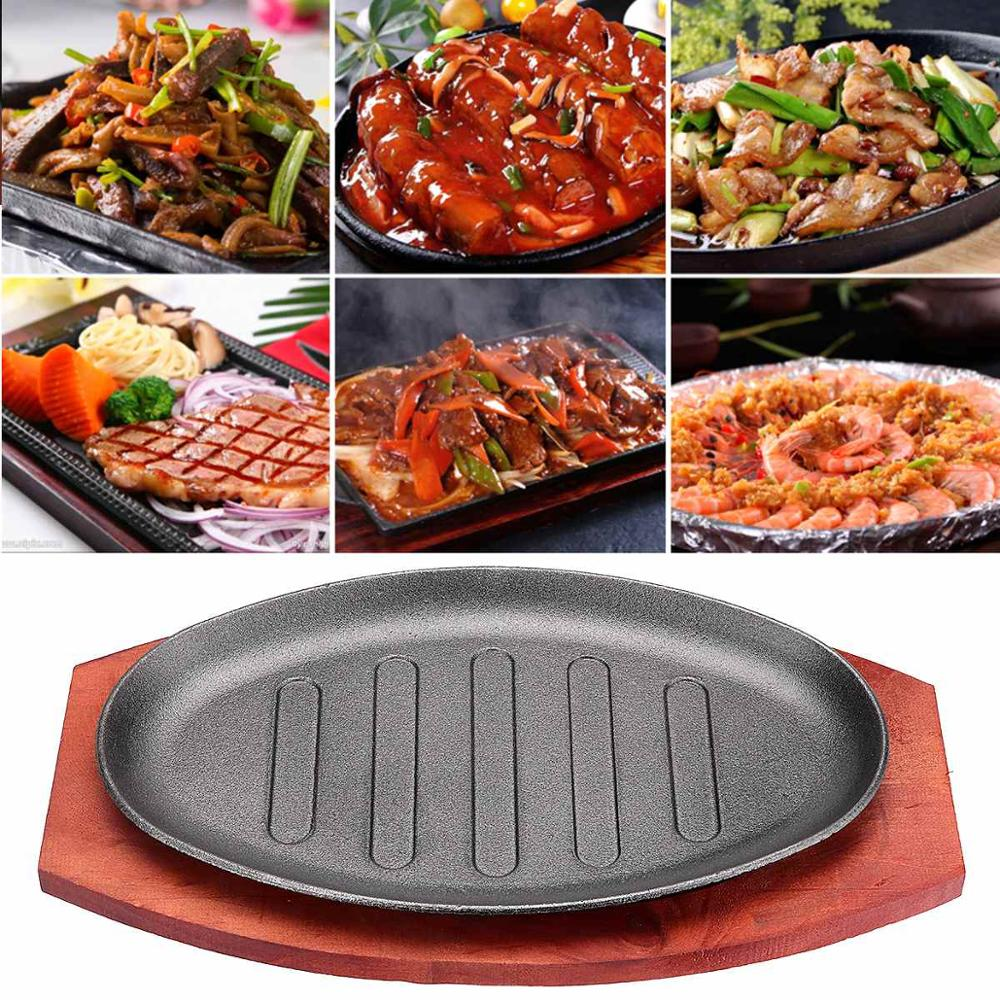 3 Sizes Cast Iron Roasting Steak Pan Non Stick Roast Enamel Fried Pot Plate Frying Pan With Wooden Base Holder Home Cookware