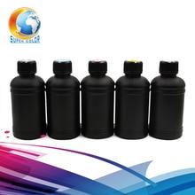 Высокое качество, гибкие UV LED чернила для Epson R1800 R1900 R2000 R3000 принтеров на мягких материалов 250 мл 5 видов цветов