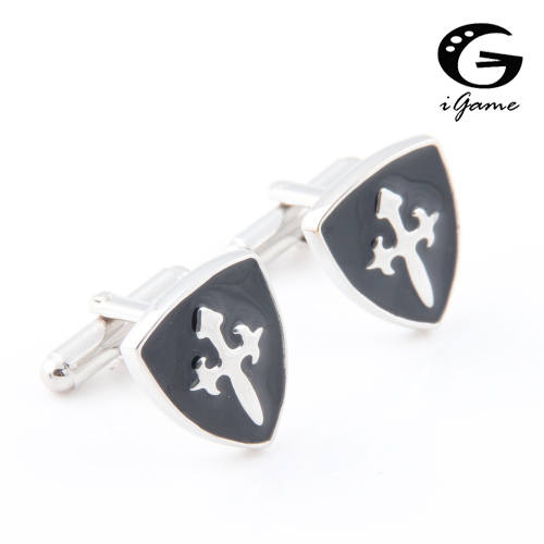 IGame Factory Price Retail Novelty Cuff Links For Men Fashion Copper Material Black Shield Design Free Shipping