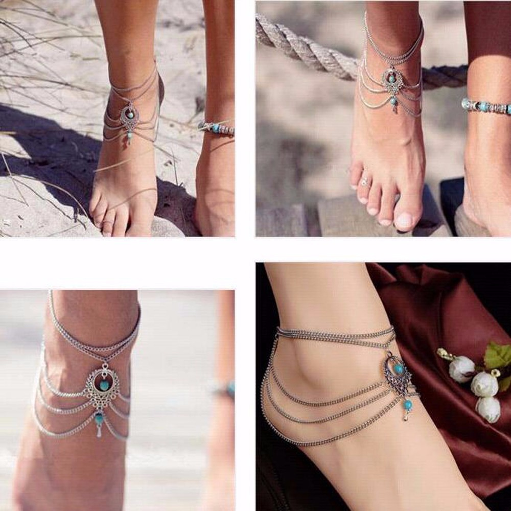 TOMTOSH 1pc Ethnic Beads Anklet Chic Tassel Foot Chain Ankle Bracelet Body Jewelry Anklets For Women
