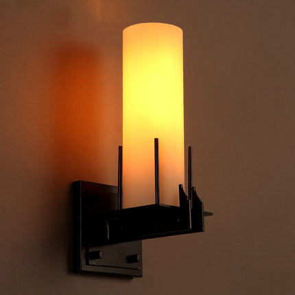 US $138 0 |Loft American Country Style Wall Light Simple Glass Lamp Shade  Vintage Wall Lamp Creative Indoor Wall Light Wall Mounted Lights-in Wall