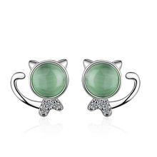Женские серьги гвоздики с зеленым опалом из стерлингового серебра