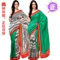 Индия одежда Шелковый как Шаблон С Обеих Сторон Носить Сари Сари Платье Топ Размер Настроить Бесплатная Доставка