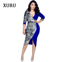 XURU 2019 spring new sequin dress stitching deep V-neck womens straps split woman Red Black Blue