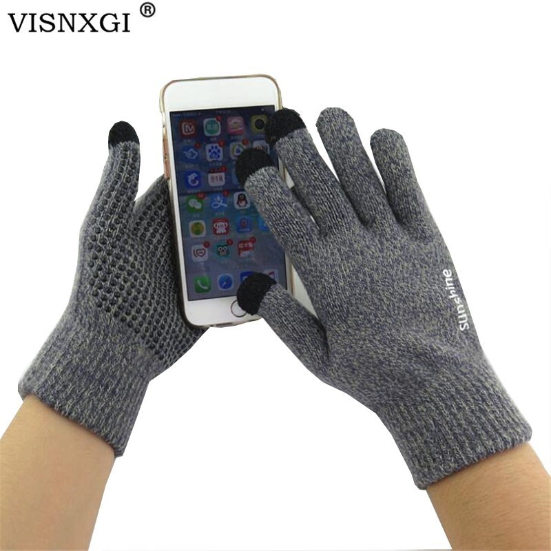 VISNXGI Winter Autumn Men Knitted Gloves Touched Screen High Quality Male Thicken Warm Wool Cashmere Solid Sport Wrist Gloves