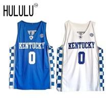 De'Aaron Fox #0 Kentucky Wildcats Throwback College Jersey Blue white