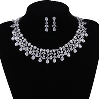 Luxury Flower AAA+ Cubic Zirconia Jewelry Sets Real White Gold Color Jewellery For Women Bridal African Dubai Jewelry WS116