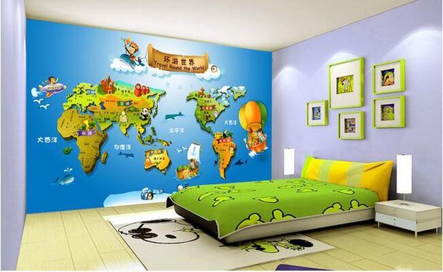 Aliexpress buy 3d wallpaper custom mural non woven wall 3d wallpaper custom mural non woven wall stickers 3 d cartoon world map children room gumiabroncs Choice Image