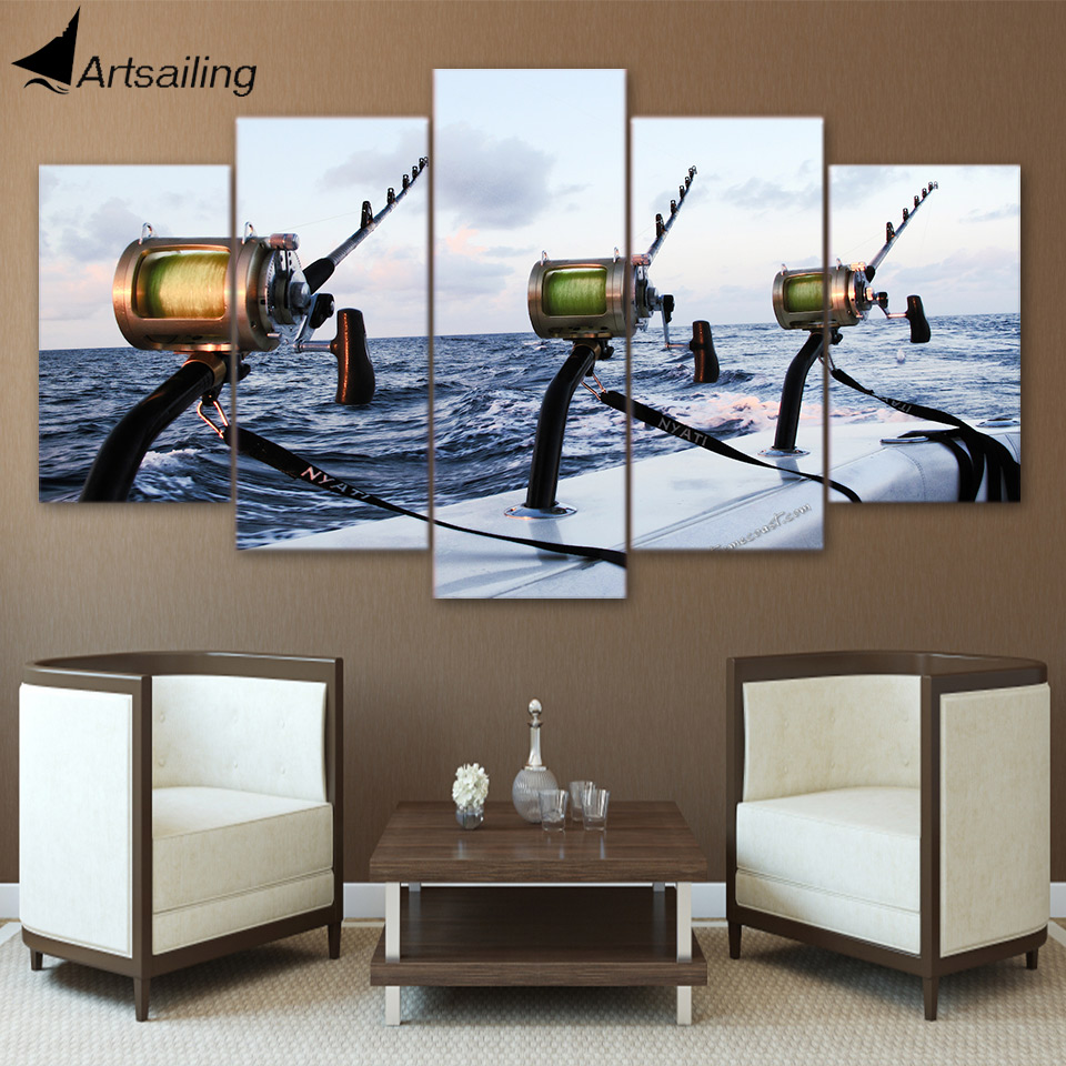 HD Printed 5 Pieces canvas Fishing rod at sea painting Wall Art Canvas Pictures For Living Room Bedroom Modular  CU-1389A