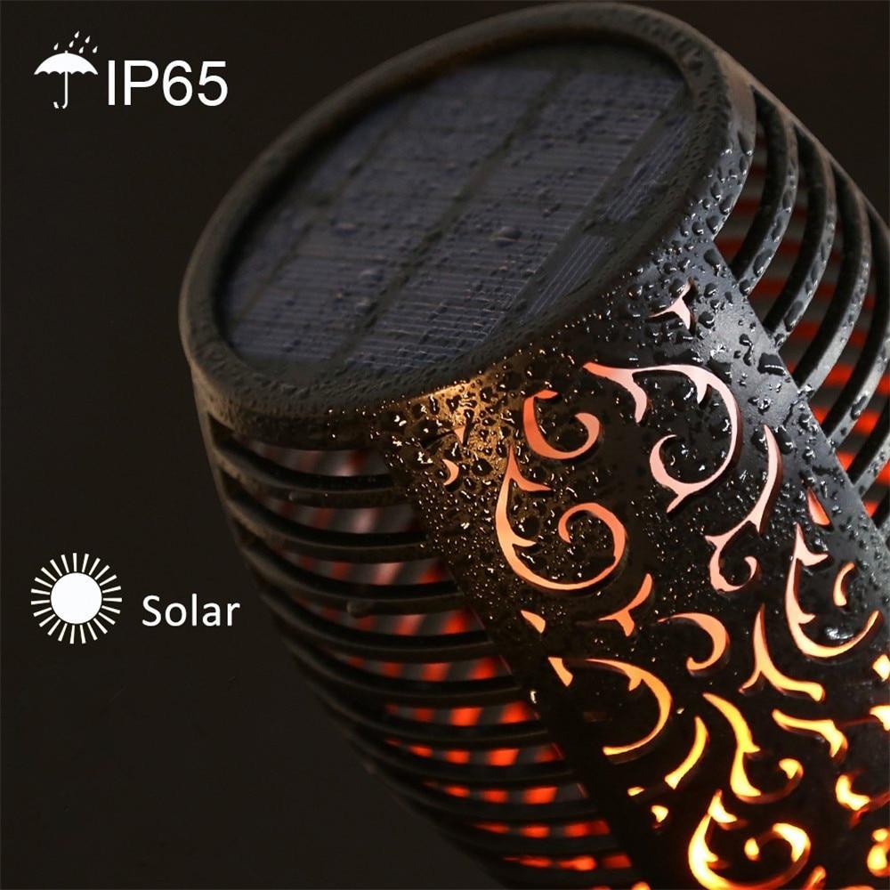 4X nouveau solaire flamme clignotant pelouse lampe torche LED lumière réaliste danse flamme lumière étanche extérieur jardin décor lampe chaude - 3
