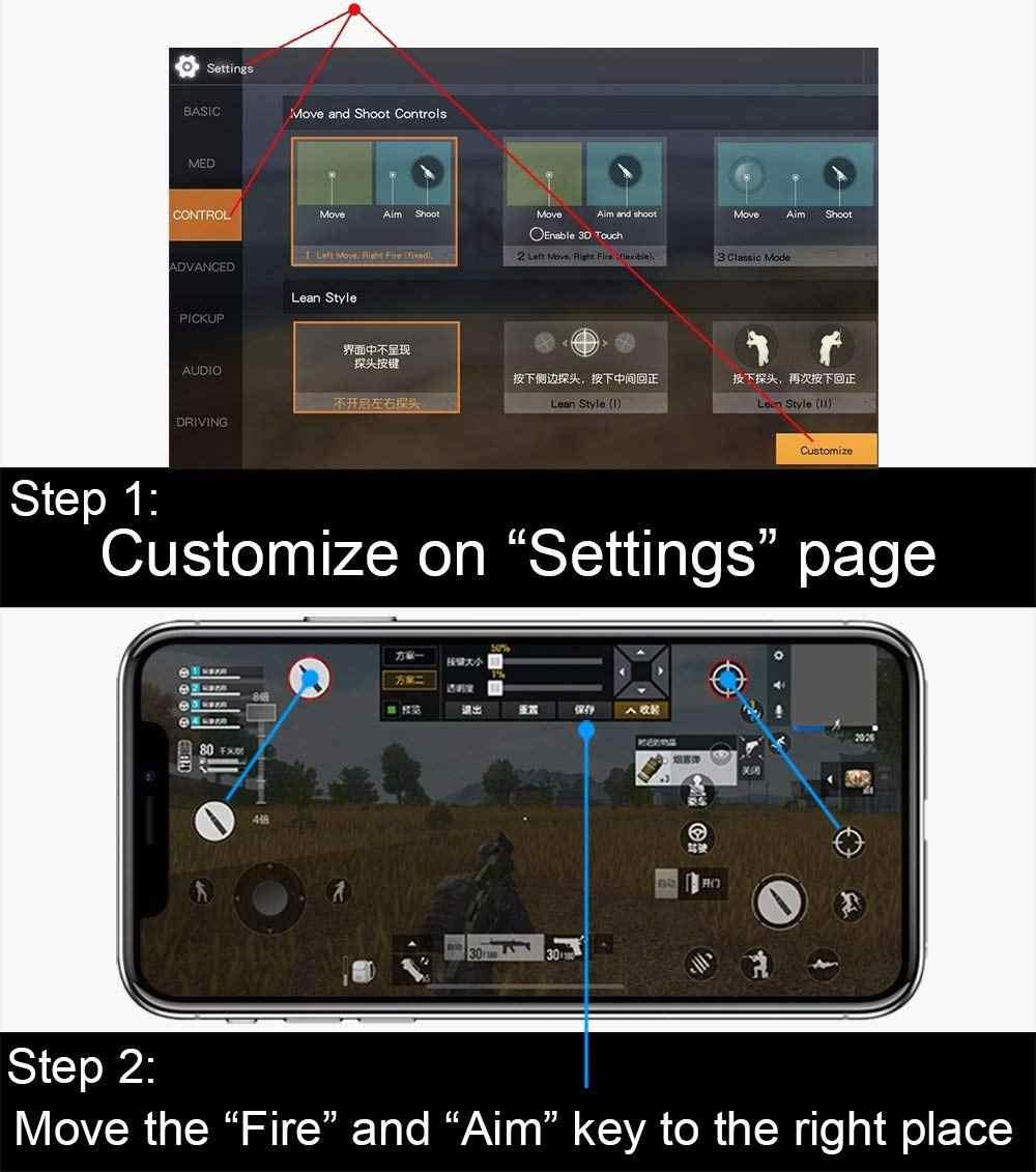 Портативный L1R1 игровой триггер смартфон игры шутер контроллер огонь кнопка ручка для iPhone PUBG/правила выживания/Ножи из