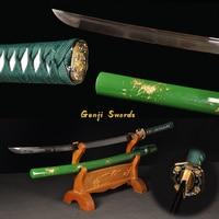 Handmade Full Tang Green Katana T10 Steel Clay Tempered Real Japanese Samurai Sword Vintage Style