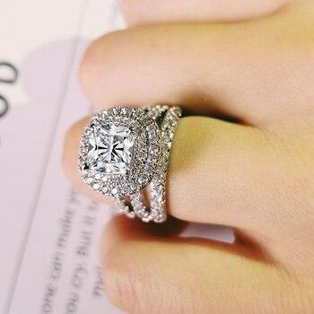 3d183343cb19 De moda de lujo grande de Plata de Ley 925 anillo de compromiso para las  mujeres y damas regalos de Navidad con zirconia boda R4898