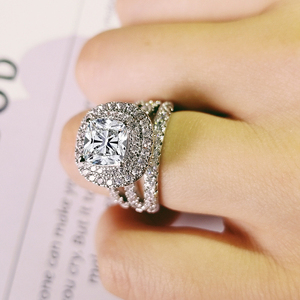 Image 2 - trendy luxury big 925 sterling silver engagement Ring for Women and ladys christmas gifts with cushion zirconia wedding R4898