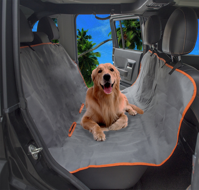 Black Grey 2-in-1 Dog Seat Cover for Back Car Seat with Zipper Waterproof Non-Slip  Hammock Style Bench Seat Car Trunk Pet Mat 795d29f49