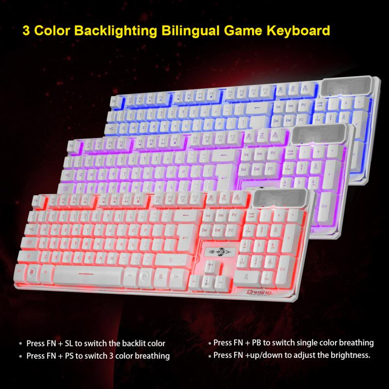 2017 Top sale New fashion 3 Colors Crack Illuminated LED Backlight USB Wired Multimedia PC Gaming Keyboard for LOL DOTA CF NICE