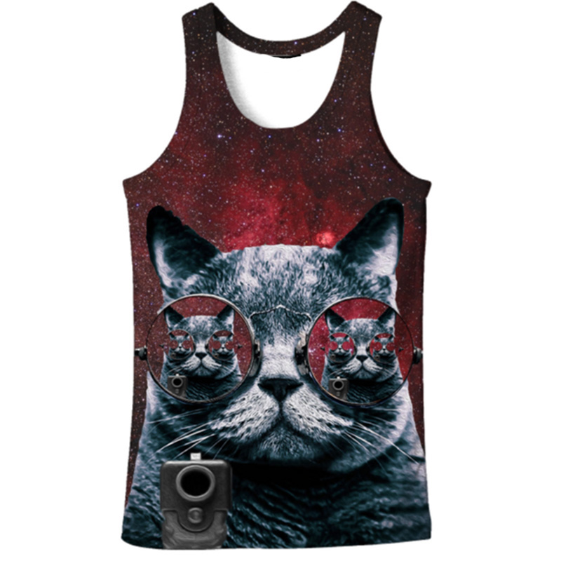 Cloudstyle 2019 Fashion 3D   Tank     Tops   Men Conventional Sleeveless Vest Cute Sunglass Cat 3D Print Bodybuilding Active Funny
