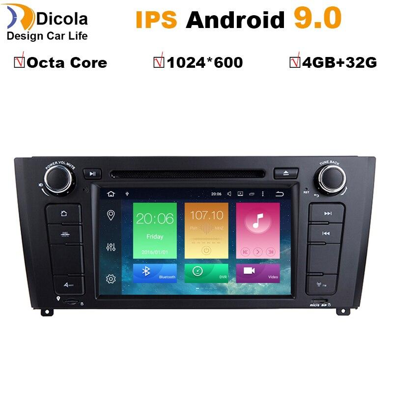 AutoRadio 1 Din Android 9 lecteur DVD de voiture pour BMW E87 1 série E88 E82 E81 I20 D Navigation multimédia GPS Wifi Bluetooth Audio