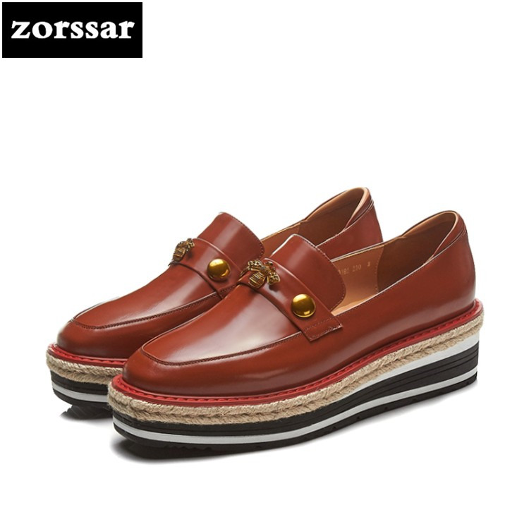 {Zorssar} 2018 women flats platform sneakers shoes Genuine Leather Female casual shoes Slip on flat Loafers women Creepers shoes cresfimix women cute spring summer slip on flat shoes with pearl female casual street flats lady fashion pointed toe shoes