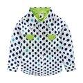 YN-71, children boys shirts, polka dot color block shirts, 100% cotton poplin