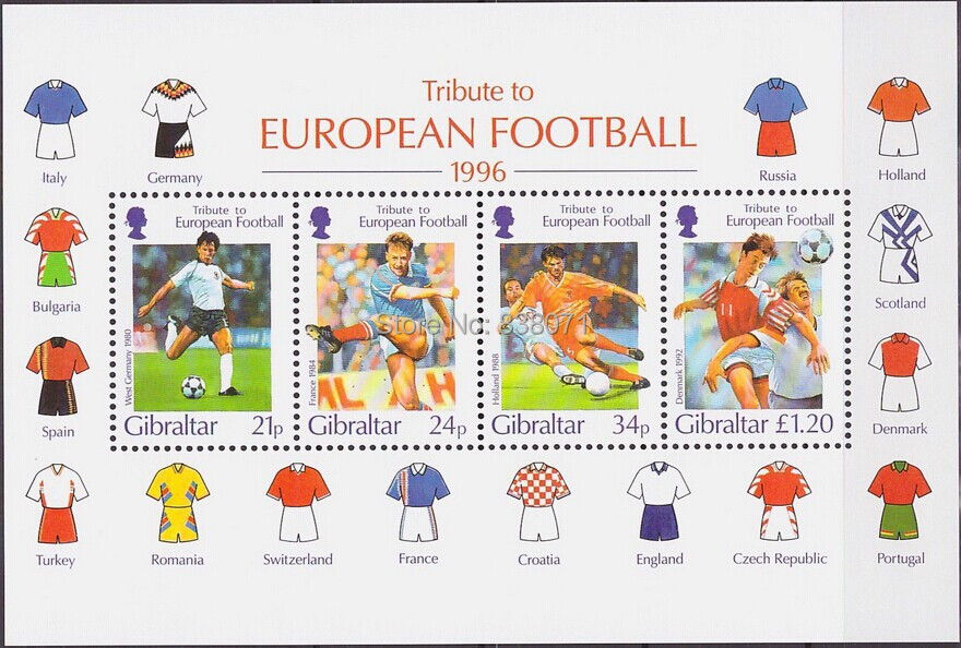 Gibraltar Souvenir Sheet 1996 Mi#759-762 Block#25 MNH Football Soccer, collection Stamps , free shipping