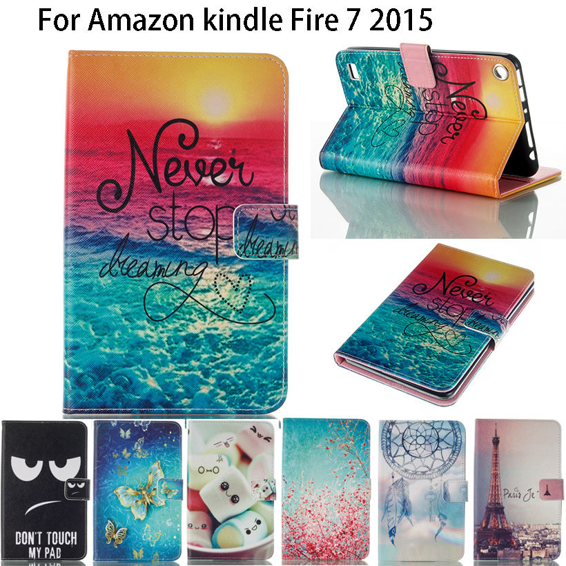 Kindle Fire 7 Case 2015 Fashion Painted PU Leather Silicone Funda Tablet Flip Stand Case Cover For Amazon Kindle Fire 7 inch for amazon new kindle fire 7 2015 case 3 fold flip cover for tablet leather fundas shell stylus