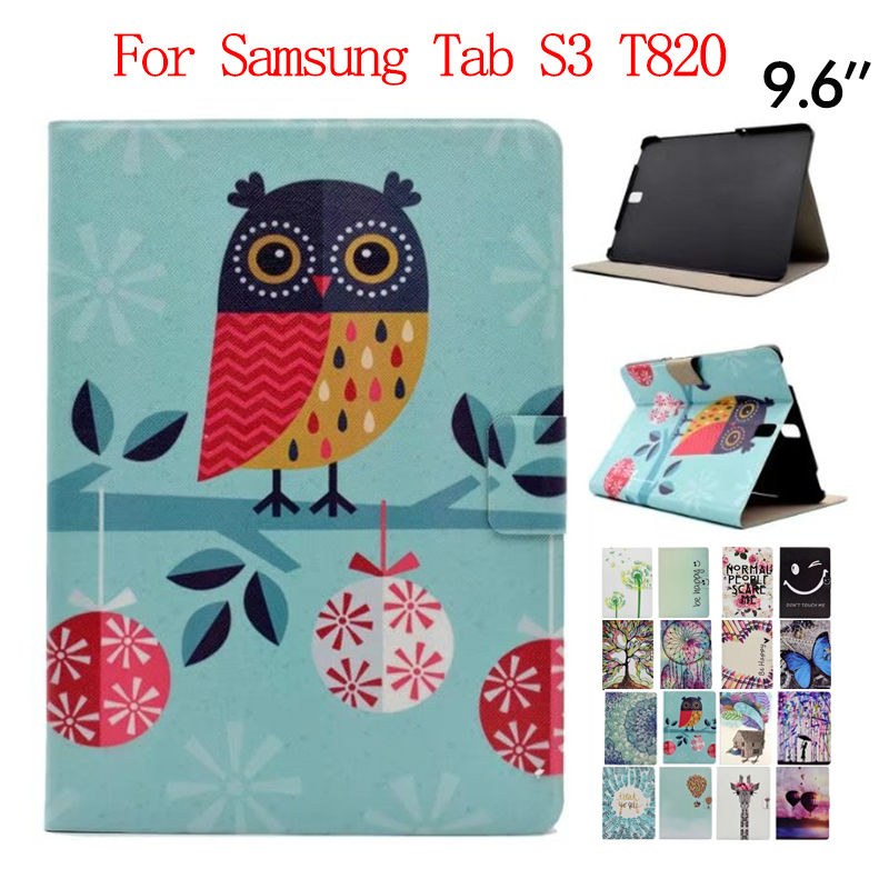 Tab S3 T820 9.7 inch Tablet PU Leather Case Cover Colorful Print Protective Stand For Samsung Galaxy Tab S3 9.7 T820 Smart Funda new fashion tab s3 9 7 tablet case pu leather flip cover for samsung galaxy tab s3 9 7 inch t820 t825 cute stand cover 6 colors