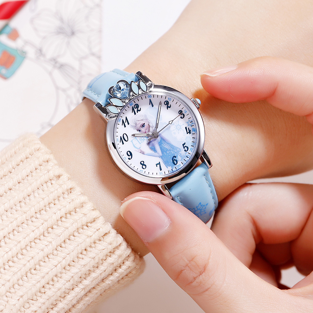 Disney Brand Cartoon Frozen Children Girls Wristwatch Quartz Leather Waterproof Child Watch Childrens Watches Diamond Warm And Windproof Watches