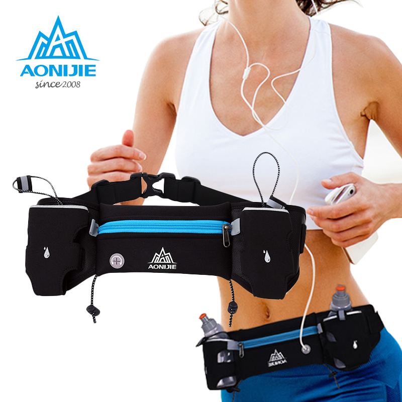 AONIJIE Runing waist bags Sports Hydration Belt Bottle Holder Fanny Pack Marathon Running Reflective Adjustable Waist Belt Bags