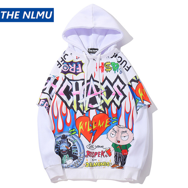 Hip Hop Graffiti Hoodie Men Fleece Pullover Harajuku 2019 Autumn Winter Fashion Casual Purple Streetwear Sweatshirt Male HZ025