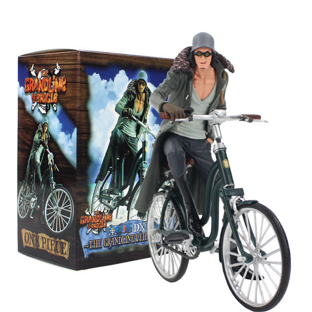 16cm Anime One Piece DXF The Grandline Vehicle Vol.2 Kuzan Ridding Bicycle PVC Action Figure Model Collection Toy Doll