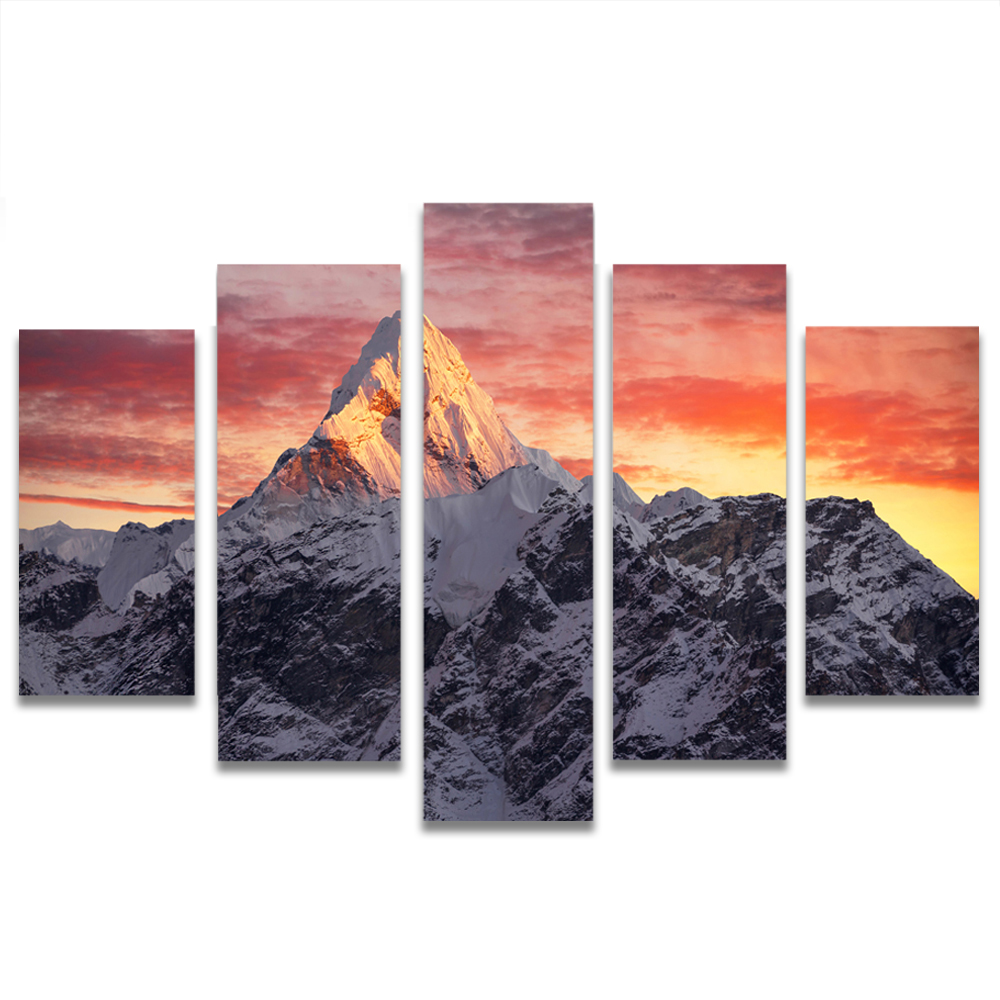 Unframed HD Canvas Painting Overcast Sky Snow Mountain Picture Prints Wall Picture For Living Room Wall Art Decoration