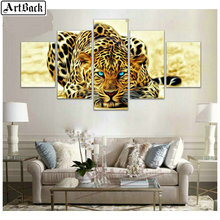 5 spell diamond painting leopard horse peacock full square drill mosaic 3d embroidery sticker animal