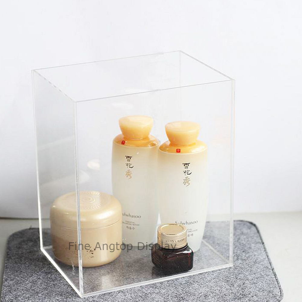 5 Sided Clear Acrylic Cosmetic Jewelry Display Box With Open Top No Lid