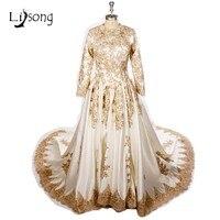 Gold Appliques Muslim Wedding Dress Full Sleeves Long Train Bridal Formal Dress Luxury Wedding Dress Saudi Arabia Middle East