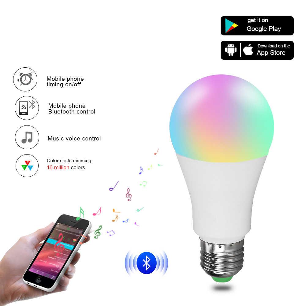 RGBW Bluetooth 4.0 Smart LED Light E27/B22 15/20W APP Smart Voice Music Control Lighting Lamp Multiple Colors LED Bulb for Home