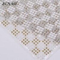 JUNAO 24*40 cm Weiße Perle Perlen Applique Glas Hotfix Strass Mesh Trimmen Hot Fix Strass Perlen Kristalle Band für Kleidung Handwerk