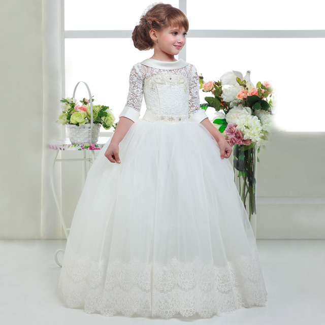 96f4377a6 أنيقة الأولى بالتواصل فساتين للبنات الاطفال الأبيض التخرج فساتين الأميرة  المقدسة بالتواصل فساتين 2019