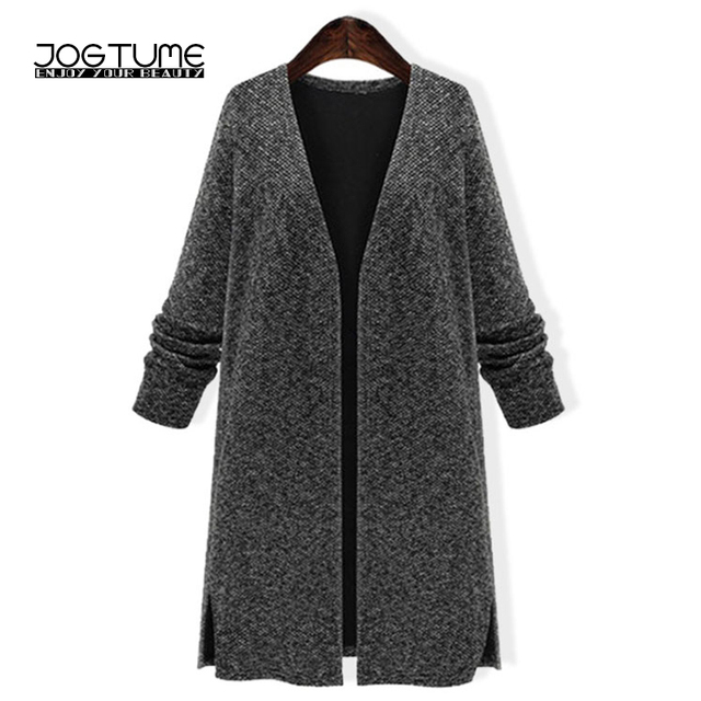 JOGTUME Grey Knitted Coat 2017 Spring Autumn Womens Long Cardigan Sweater  Ladies Elegant Loose Knitting Sweater Coats Plus Size 5c985a0c3