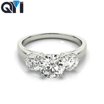QYI Rings Women Fashion Jewelry 925 Sterling Silver Three Stone 1 ct Round Cut 5A Zircon Engagement Wedding Band Ring colorfish new unique design three stone wedding ring round cut sona 925 sterling silver for women engagement ring lovers promise