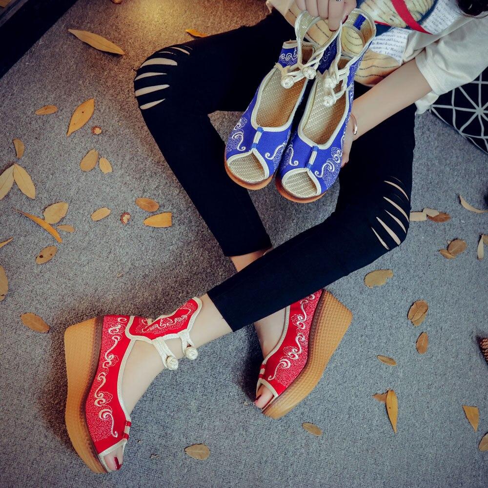 Mary Azul Aumentar Altura Zapatos rojo Mujer 5 2017 Plano China Cm Old Beijing Jane Viaje Bordado Estilo XRTnqZwgx