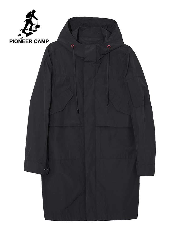 Мужская ветровка с капюшоном Pioneer Camp Повседневная Длинная Куртка тренчкот