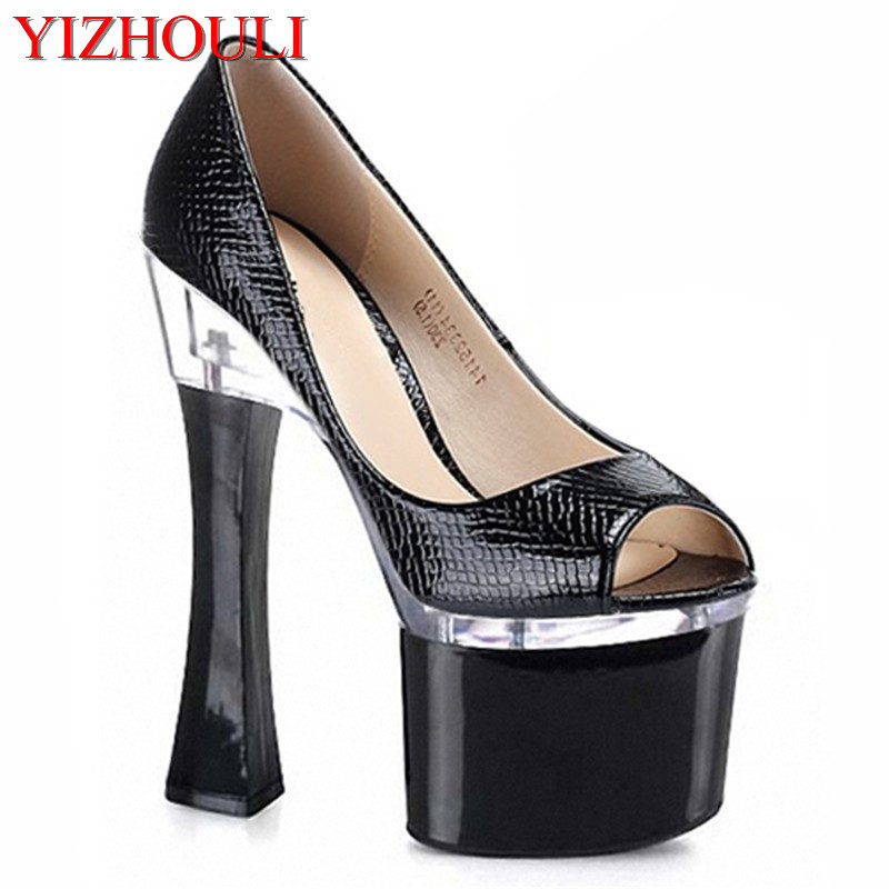 Women party platform peep toe pump 8 inches of 18 cm high heels shoes black sexy stripper shoes