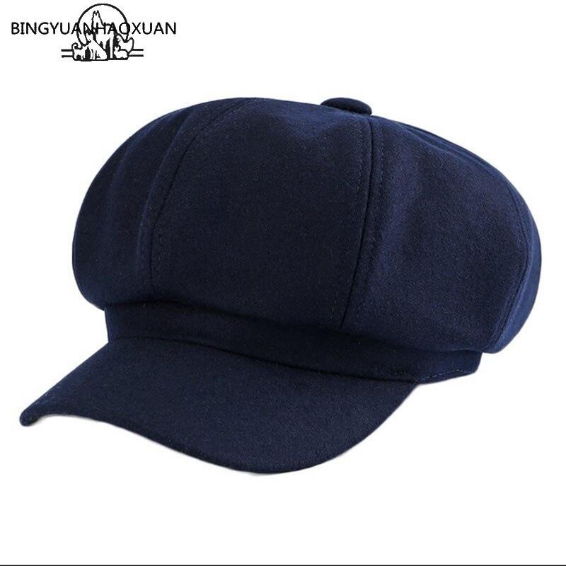 Solid Color Cotton Women Beret Autumn Winter Octagonal Cap Hats Stylish Artist Painter Newsboy Caps Warm Beret Hats