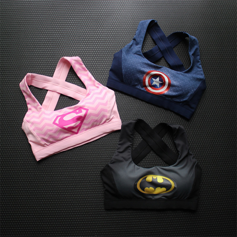 Captain America Superman Batman Fitness Women Tops 3d Print Breathable Yoga Running