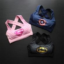 Kaptan amerika Superman Batman spor spor kadın sutyeni üstleri 3d baskı nefes Yoga koşu spor sutyen Sujetador Deportivo