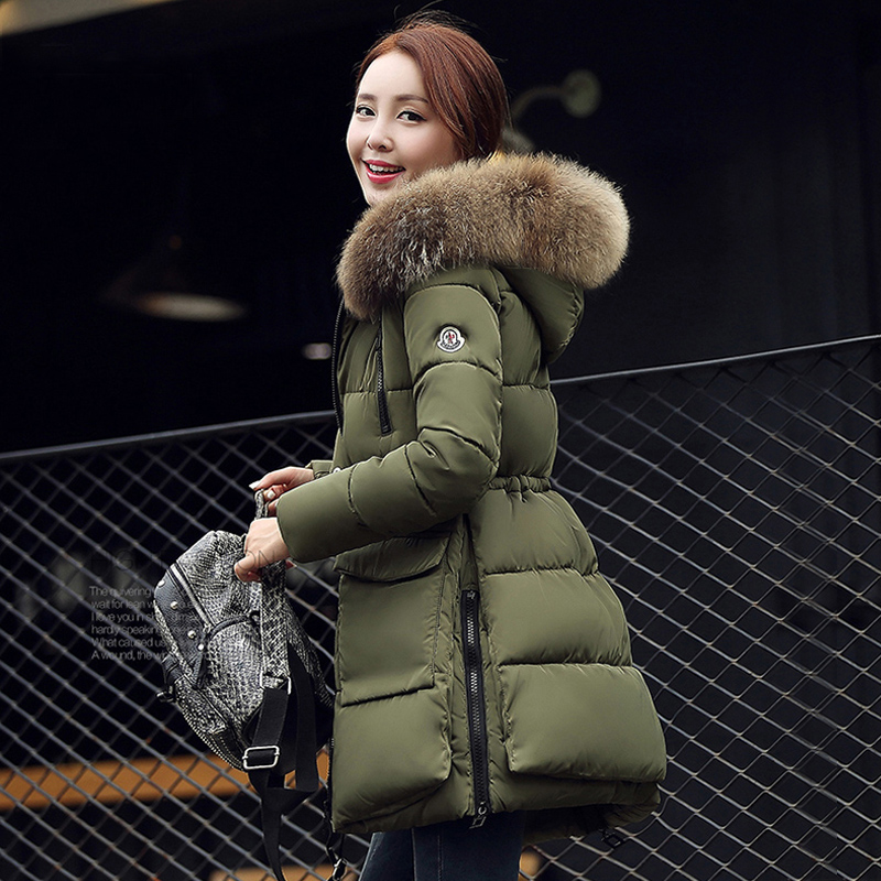 Big Real Fur Women Jacket Winter Coat 2017 Raccoon Fur Collar Hooded Long Warm Slim Thick Parkas For Women Jackets and Coats 2017 women jackets and coats solid slim large fur collar hooded short parkas thick jacket winter women warm coat overcoat sy003